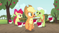 AJ, Apple Bloom, and Granny Smith carrying paint S3E8.png