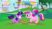 Cadance and filly Twilight chanting S2E25.png