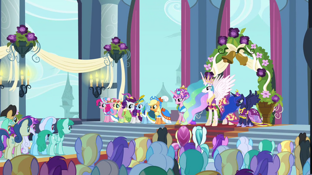 File:Main 5 and Princesses in Canterlot castle throne room S03E13.png