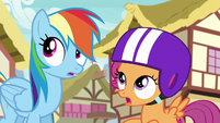 Rainbow and Scootaloo hear the Wonderbolts S6E7