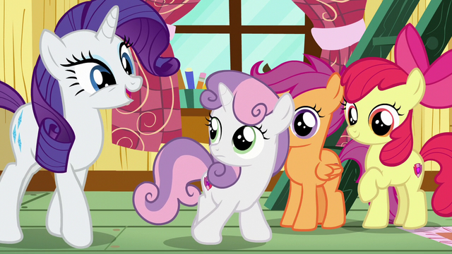 File:Rarity nudging Sweetie Belle out of the clubhouse S7E6.png