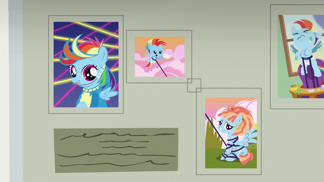 File:More pictures of Rainbow Dash on the wall S7E7.png