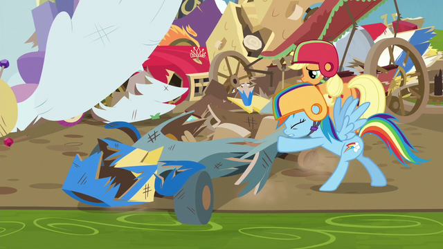 File:Rainbow Dash pushing her wrecked cart S6E14.png