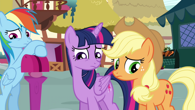 File:Twilight and Applejack afraid to talk to Pinkie S4E18.png