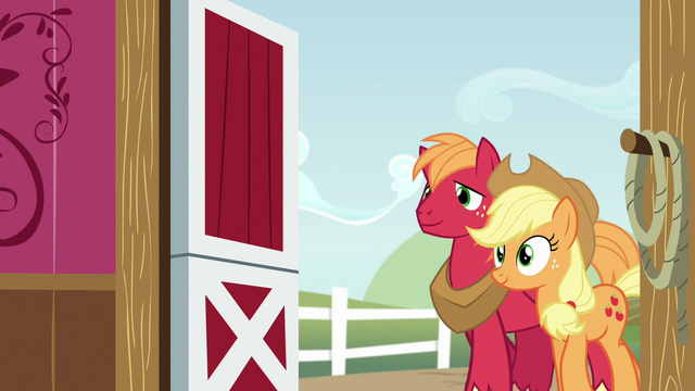 File:Applejack and Big Mac entering the barn S6E23.png