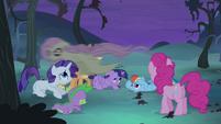 Flutterbat swooping over ponies S4E07