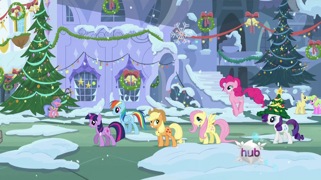 File:Ponies walking through town S2E11.png
