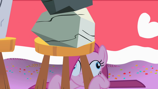 File:Derpy Party Pinkie under stool S01E25.png