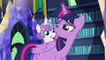 Flurry Heart riding on Twilight Sparkle's back S7E3.png
