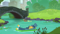 Business pony floating away on the creek S5E16.png