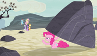 Pinkie Pie under a boulder S5E1
