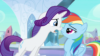 Rarity & Rainbow Dash nose to nose S3E1