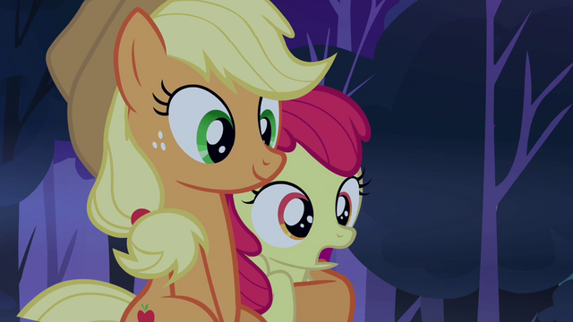File:Apple Bloom being held by Applejack S3E06.png