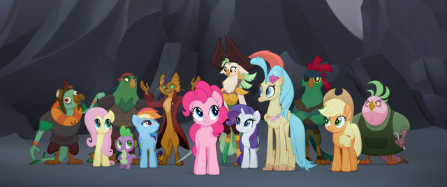 File:Mane six with hippogriff Skystar, Capper and the Pirate Parrots MLPTM.jpg