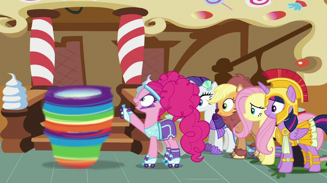 File:Pinkie Pie about to stop Rainbow Dash S5E21.png