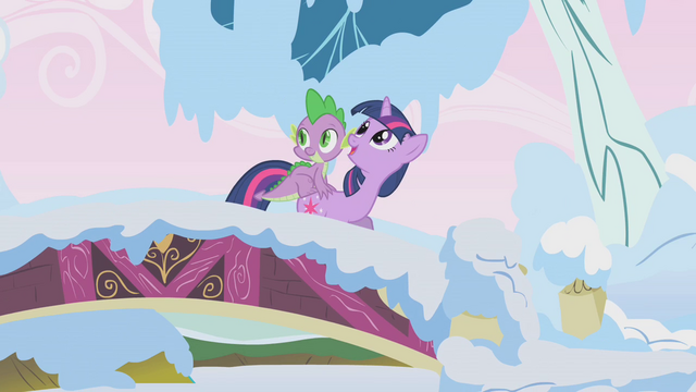 File:Twilight and Spike on a bridge S1E11.png