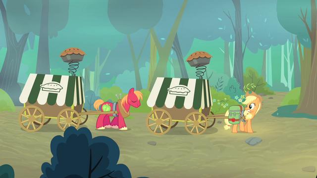 File:Applejack and Big Mac pulling pie carts S4E17.png