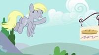 Derpy flying and waving to Twilight S6E6