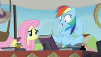 Fluttershy and super-excited Rainbow S4E22