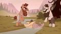 Grub and Piles toss their hats in the creek S5E23.png