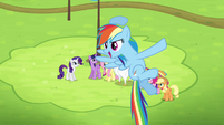 Rainbow Dash about to take off S4E10