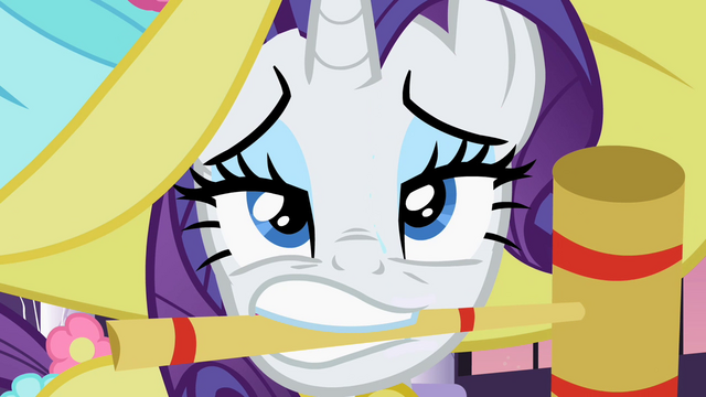 File:Rarity with croquet mallet in mouth S2E09.png