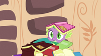 Spike with book on his head S2E21