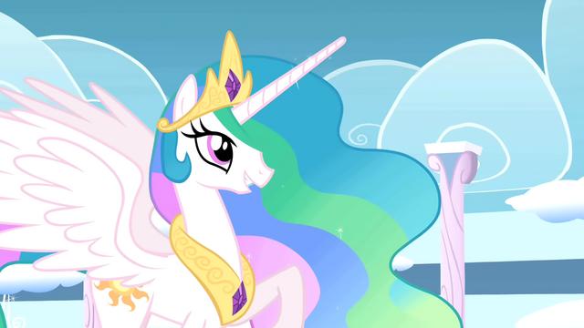 File:Princess Celestia praises Rainbow Dash's performance S01E16.png