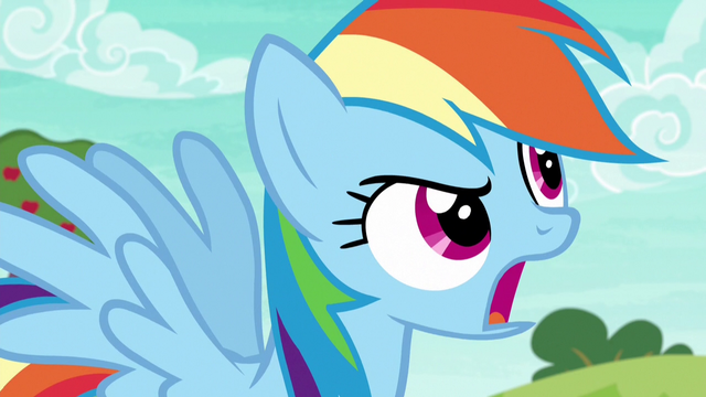 "File:Rainbow Dash shouting ""faster!"" S6E18.png"