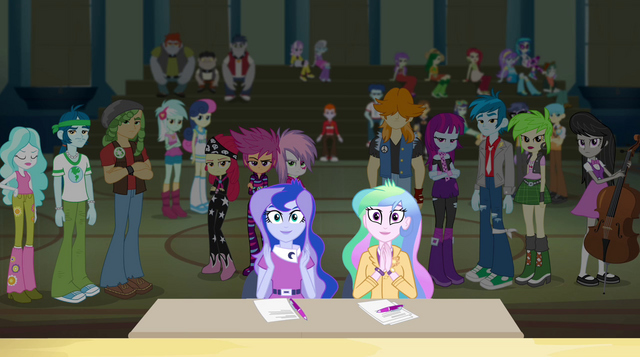 File:Celestia and Luna applaud the Rainbooms EG2.png