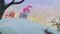 Pinkie, Maud, and Apples approach the rock farm S5E20