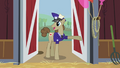The Mail pony stands in the barn's entrance S2E14.png