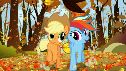Applejack and Rainbow Dash happily racing fair S1E13.png