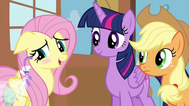 "File:Fluttershy blushing ""I'd rather not say"" S4E16.png"