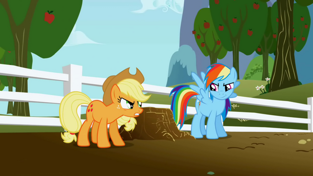 File:Applejack and Rainbow Dash rivalry S1E03.png