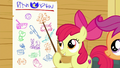 Apple Bloom points to dancing on the chart S6E19.png