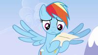 Rainbow sad look reading the letter S3E7