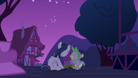Twilight Sparkle and Spike eating cookies S6E15