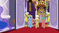 Delegate ponies enter the castle dining hall S7E10