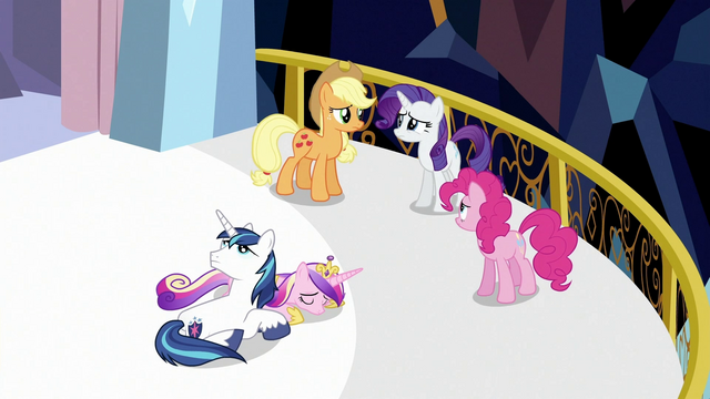 File:Looking over Shining Armor and Princess Cadance S3E2.png