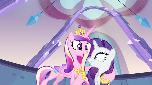 File:Rarity & Princess Cadance enjoying themselves S3E12.png