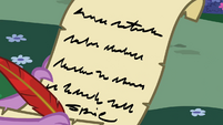 Spike's letter to Princess Celestia S02E10