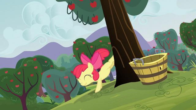 File:Apple Bloom bucks a tree S3E08.png