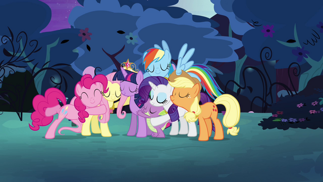 File:Mane six happily back together and hugging S4E02.png
