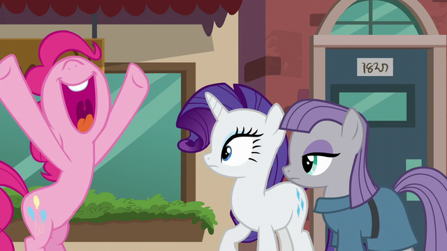 File:Pinkie Pie about to hug Rarity and Maud S6E3.png