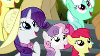 Rarity, Sweetie Belle, and Apple Bloom in awe S6E7