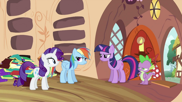 File:Twilight, Rarity and Spike looking at Rainbow Dash S2E21.png