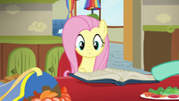 Zephyr showing Fluttershy a book of mane styles S6E11