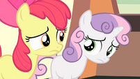 Apple Bloom and Sweetie Belle looking at each other S4E05