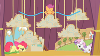 Apple Bloom and Sweetie Belle walking onstage tired S4E05